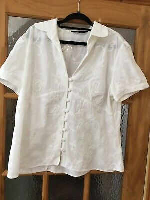 15614a93f0189a Dorothy Perkins Size 20 White Embroidered Buttoned Top/ Blouse Short Sleeves