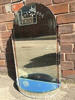 Vintage Antique Art Deco Wall Hanging Mirror Mirrored Shelf Rose Gold HAUNTED