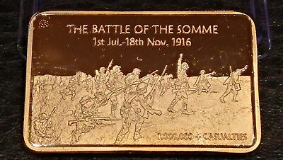 Collectables Commemorative Gold Plated Bullion Barthe Battle Of The Somme