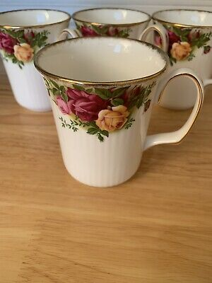 ROYAL ALBERT OLD COUNTRY ROSE 4Tall Mugs Great Unused Condition