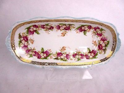 "ANTIQUE HERMANN OHME SILESIA GERMANY 12"" Trinket Dresser Vanity DISH"