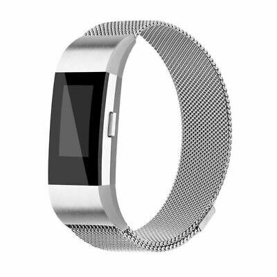 For Fitbit Charge 2 Magnetic Milanese Stainless Steel Watch Band Strap Silver
