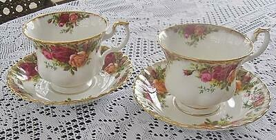 Two (2) Royal Albert Old Country Roses Tea Cups & Saucers Brushed Gold Elegant