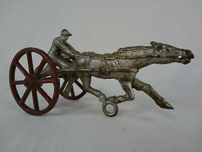 Antique Sulky Racer – Vintage Cast Iron Horse Drawn Racing Toy