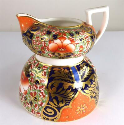 Antique Stevenson & Hancock Derby Porcelain Imari Jug & Bowl
