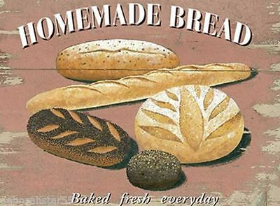 Retro Vintage Style Metal Sign Homemade Bread Baking Bakery Kitchen Home Decor