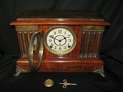 Antique Seth Thomas Adamantine Mantel Clock with 8 Columns Lion's Head Accents