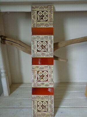 Set 14 original antique Aesthetic movement fireplace tiles reclaimed salvaged