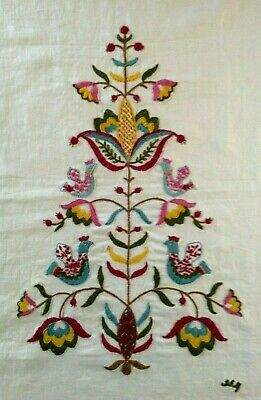 Vintage Jacobean Crewel Folk Art Embroidery Birds Flowers Linen Finished Upcycle