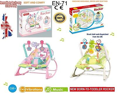 2 in 1 Baby Infant Rocker Bouncer Reclining Chair Soft Durable Musical Vibration