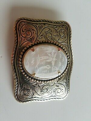 Vintage brass belt buckle Mother of Pearl palm trees