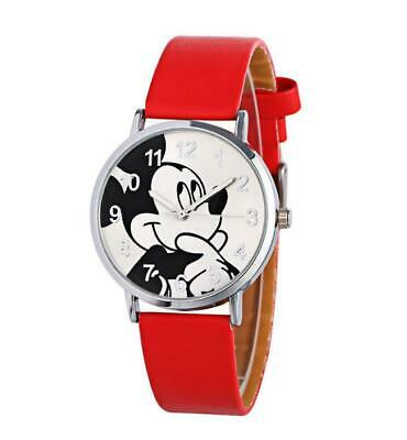 Red Disney Mickey Mouse Leather Wrist Watch Lady Girl Women Teens Cartoon Watch