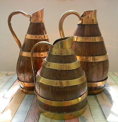 Collection of Late 18th / 19th Century French Coopered Oak Wine Jugs