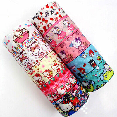 Grosgrain Ribbon 25mm 1 '' 5 Yards Meters Full Roll Kitty Cat Print Crafts +