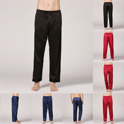 Sleepwear Long Belt Soft Solid Men Pajamas Like Satin Silk Bottoms Sleep Pants