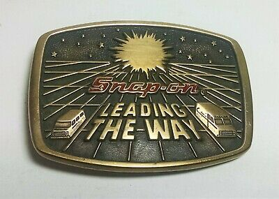 "Vintage 1988 Snap-On. Brass Belt Buckle.  ""Leading The Way"""
