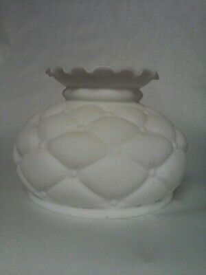 """Vintage White Satin Glass Shade For Oil Lamp Quilted Diamond  6 1/2"""" Fitter"""