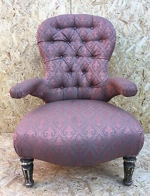 Recently Reupholstered VIctorian Mahogany Spoon Back Low Nursing Chair