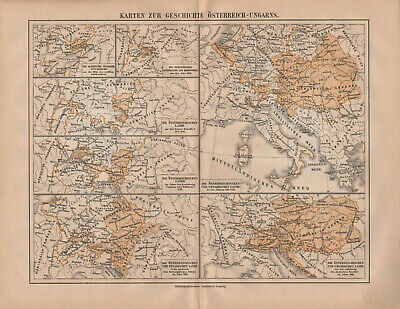 Antique map. HISTORIC MAP. HISTORY OF AUSTRO - HUNGARIAN EMPIRE. c 1885