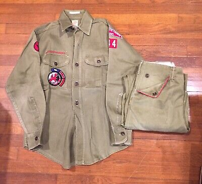 Boy Scouts of America Uniform, Shirt & Pants, Patches, Olive Green, Vintage