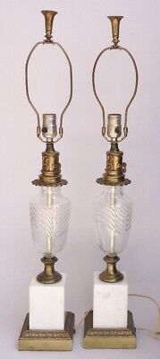 "Pair Vintage Cast Metal Cut Glass Table Lamps With 3-Way Lights 31"" Tall"