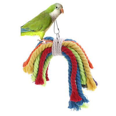 Colorful Parrot Swing Bird Toy Parakeet Cockatiel Budgie Rope Harness CageToysAA