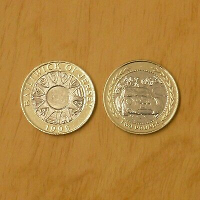 Bailiwick Of Jersey 1998 & Isle Of Man 1998 Two 2 Pound Coins X2