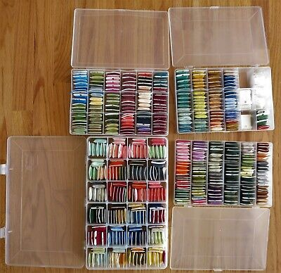 Lot 465 Full & Partial Skeins DMC Embroidery Floss On Bobbins With Cases