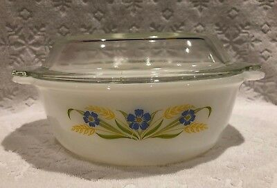 Vintage A-H Fire-King '64-66; RARE FORGET-ME-NOT Clear-Lidded 1 1-2 QT Casserole