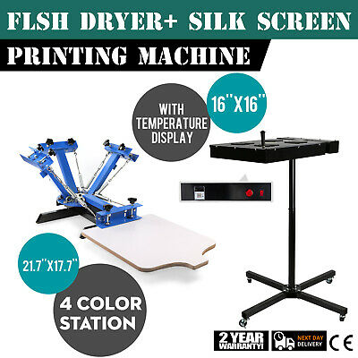 4 Color Silk Screen Print 16X16 Flash Dryer Kit Wheels 360°Swivel Head Heating