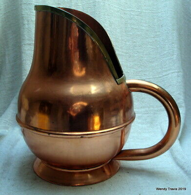 Large Genuine Vintage French  Copper Brandy Cognac Hine Water Jug