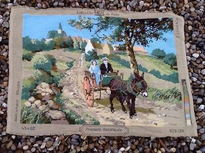 Vintage French Woolwork 45 X 60 Cm. Good Condition.