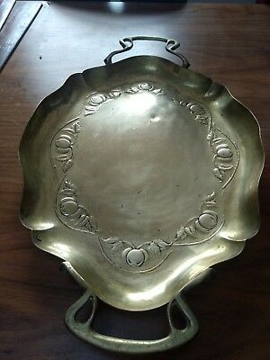 Antique 1900s Art Nouveau Solid Brass Tray Signed JS&S Joseph Sankey & Sons