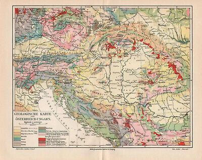Antique map. GEOLOGICAL MAP OF AUSTRO - HUNGARIAN EMPIRE. c 1905