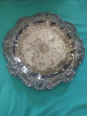 """old master embossed towle silver plate rose patterned trim floral engraved 12"""""""