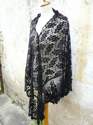 Antique 1800/1900 Victorian French black lace shawl 44.9 inches x 101 inches
