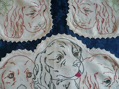 Vintage Hand Embroidered Duchess Set  Puppies / Dogs In Basket Crocheted Edge