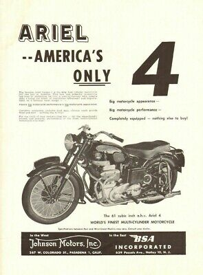1955 ariel - america's only four - vintage motorcycle ad