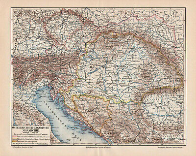 Antique map. AUSTRO - HUNGARIAN EMPIRE. 1905