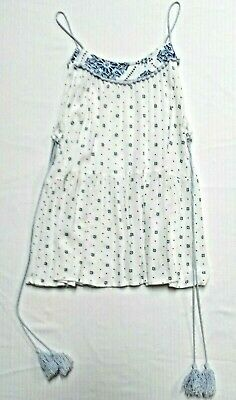Hem & Thread White & Blue Floral Design Spagetti Strap Top Women's Size M