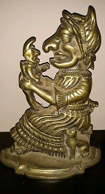 Antique Solid Brass Punch & Judy Large Door Stops Book Ends