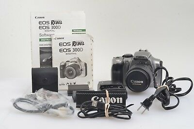 EXC++ CANON EOS DIGITAL REBEL / 300D 6.3MP DSLR w/18-55mm, FILTERS,STRAP,2BATTS+