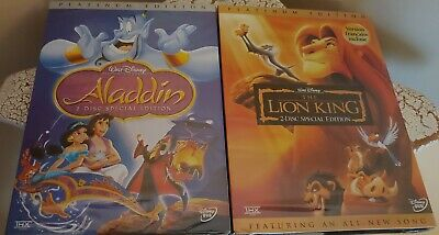 Disney Aladdin And The Lion King Platinum Edition 2 Disc Sets DVDs New
