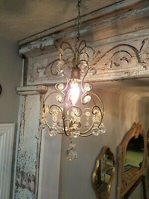 ** VINTAGE  SMALL French CRYSTAL CAGE CHANDELIER beaded petite Antique fixture