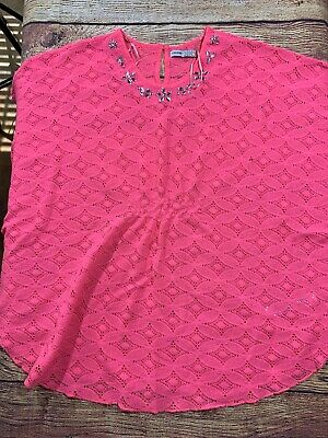 George Girls Size 16 Neon Pink Short Sleeve Top Lace Rhinestone Detail