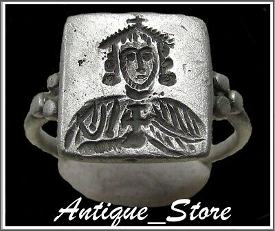 ** CONSTANTINE V ** Ancient Silver BYZANTINE Ring **AMAZING **
