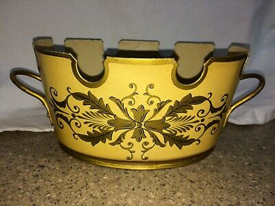 """Vintage Tole French Made In France Cachepot Painted Tole Urn Handled 9.5"""""""