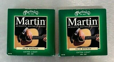 2 Sets of Martin M170 80/20 Bronze Wound Extra Light Acoustic Strings