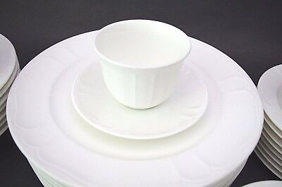 (6) Lenox Decor White Sands (no trim) 7883 Bouillon Soup Cups & Saucers Rare!