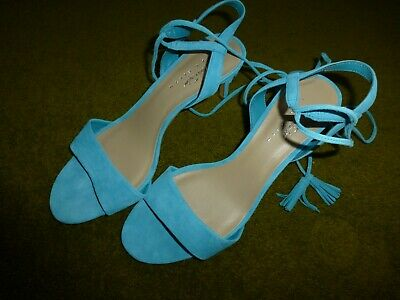c36d430e59 NEW Lord & Taylor 424 Fifth Giovanna Blue Turquoise Suede Slingback Heels 9  $99